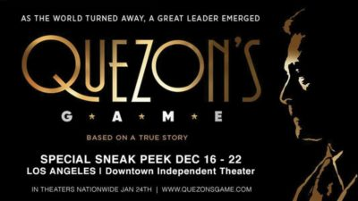 Acclaimed film 'Quezon's Game' to be screened in LA Dec. 16-22