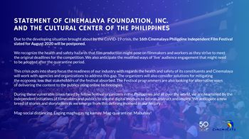 Cinemalaya film fest in August postponed due to COVID-19